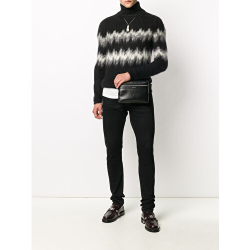 Abstract-stripe knitted jumper
