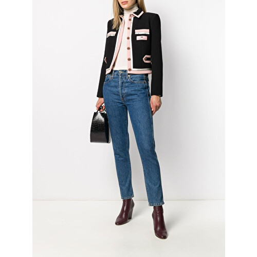 Double-breasted cr&#234pe jacket