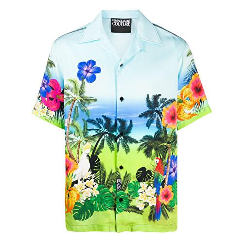 Camicia con stampa tropicale
