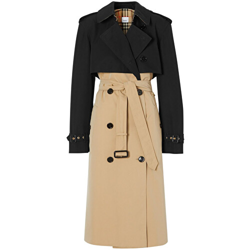 Two-tone midi trench coat