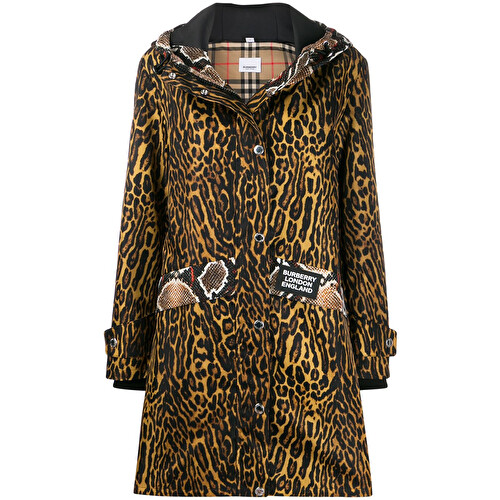 Animal print trench coat