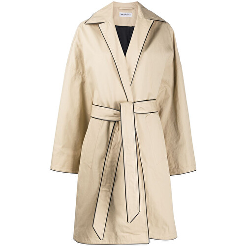 Contrast trim trench coat