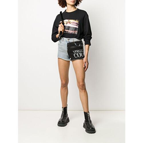 Panelled denim shorts