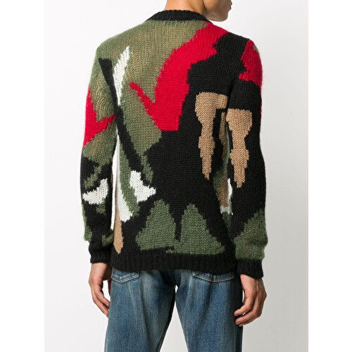 Camouflage intarsia jumper