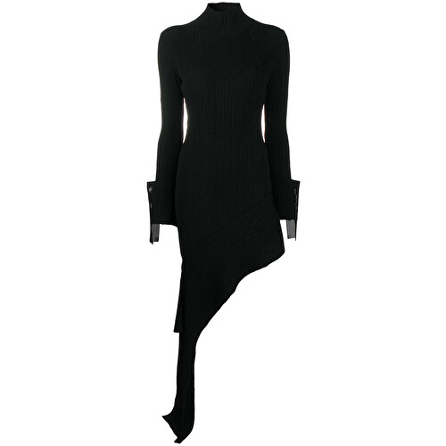 Asymmetric moiré mini dress