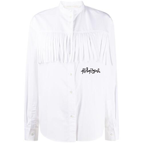 Logo fringed shirt