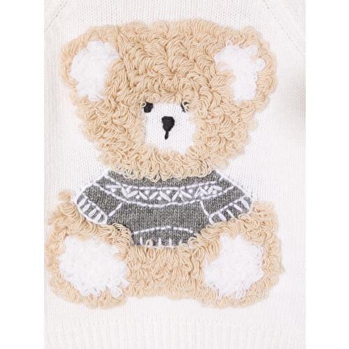 Maglione con orsetto ricamato