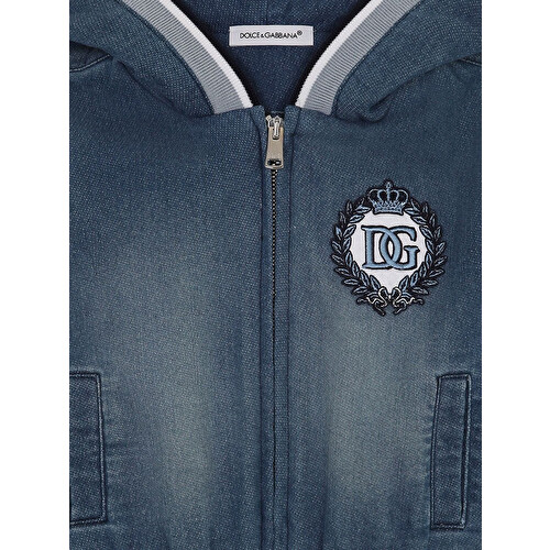Logo-embroidered denim hoodie