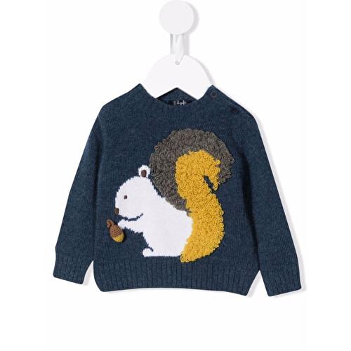 Maglione con scoiattolo ricamato