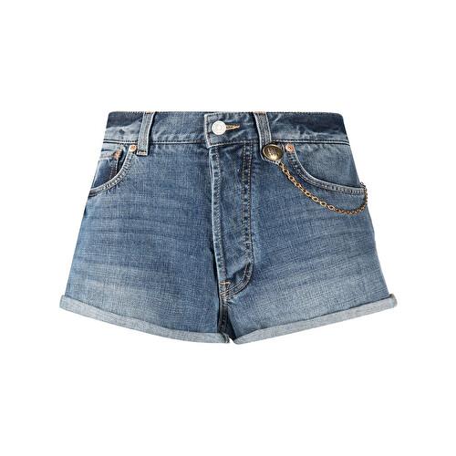 Chain-detail denim shorts