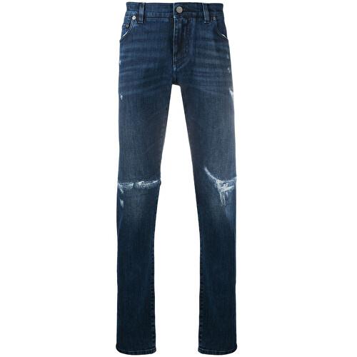 Logo plaque distressed jeans