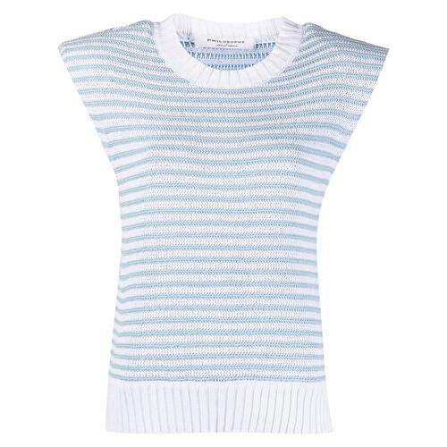 Striped print knit vest