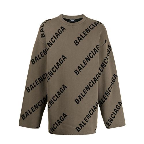 Maglione con logo intarsiato