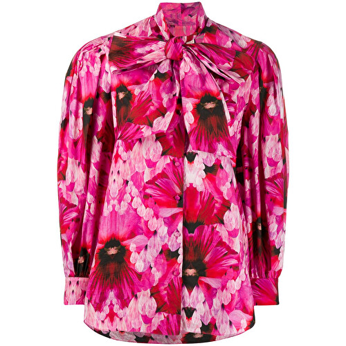 Camicia con fiocco e stampa floreale