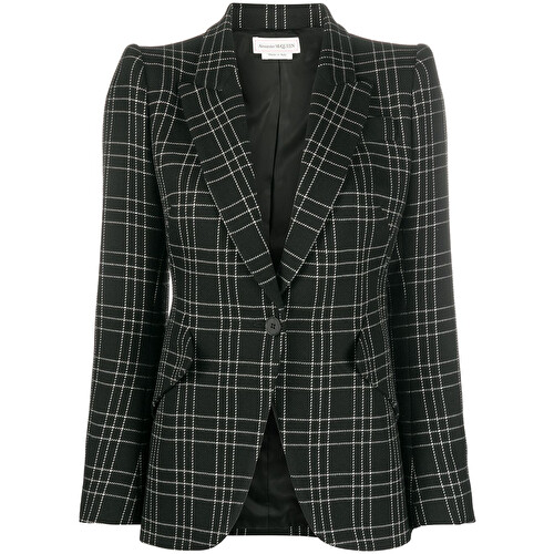 Check-print fitted blazer