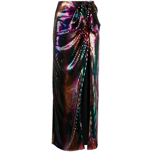 Slit detail sequinned midi skirt