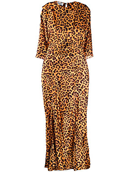 Side slit leopard print dress