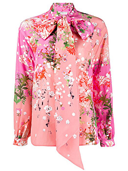 Pussybow printed blouse