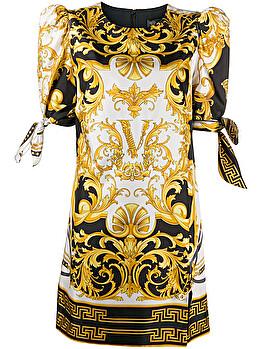 Baroque print short dress