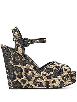 Leopard print wedge heels sandals