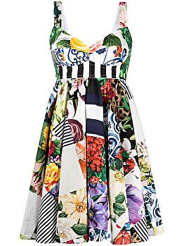 Mini abito con stampa patchwork