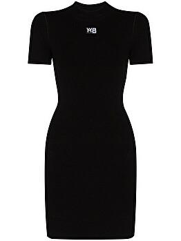 Logo-print fitted mini dress
