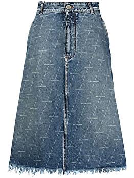 Logo-print denim skirt